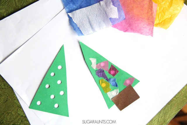 Kids can make this 3D Christmas Tree card while working on so many fine motor skills like hand strength, open thumb web space, intrinsic muscle strength, arch development, with proprioceptive input, too.  The Occupational Therapist in me loves this!