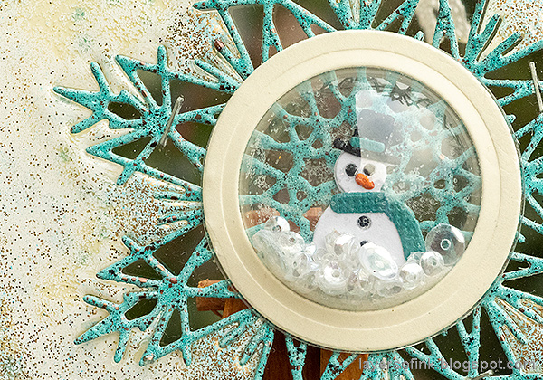 Layers of ink - Heat Embossed Snowflake Tag with Dome Tutorial by Anna-Karin Evaldsson. Sizzix Dimensional Dome, with DIY snow.