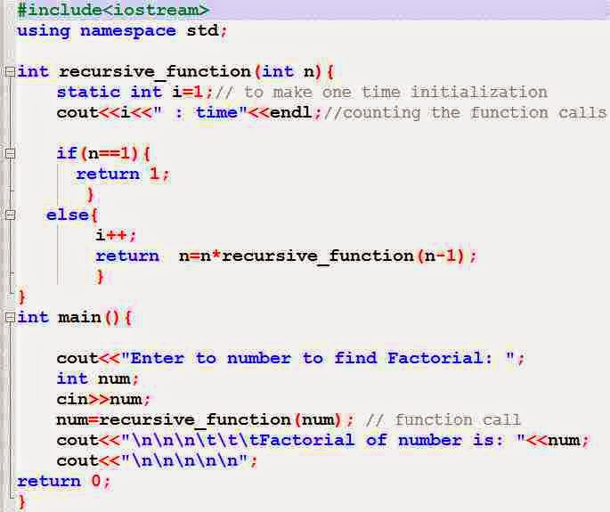 c++ program to find factorial using recursinve function of given number