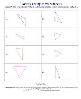 3. Free worksheets for classifying triangles and quadrilaterals