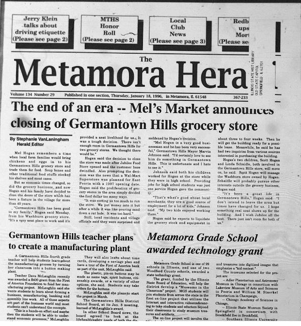 Herald Front Page January 18, 1996, Metamora Herald