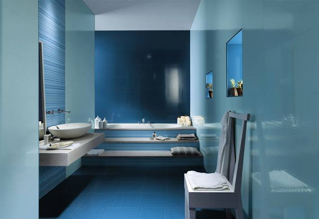 Blue Concrete small bathroom