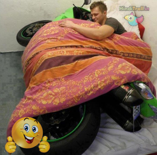 MotorCycle And Boy Both Sleep On Bed TRoll Picture