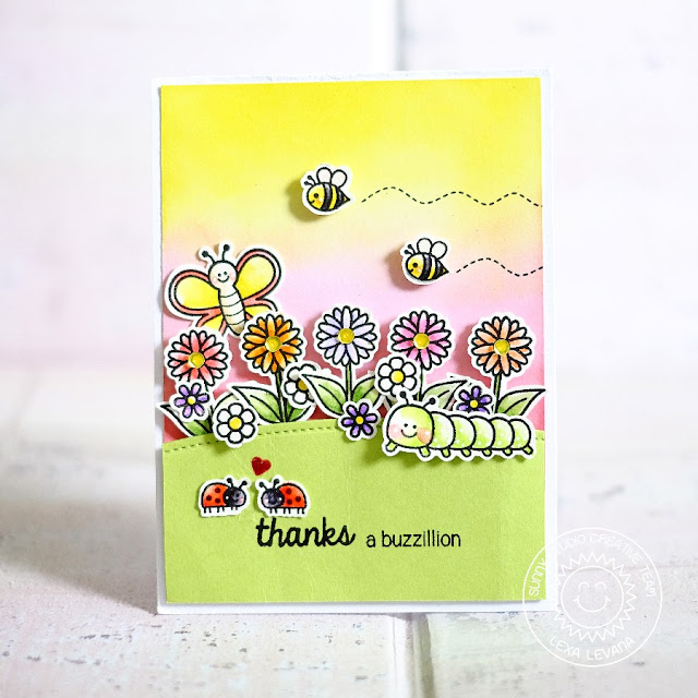 Sunny Studio Stamps: Backyard Bugs Thanks A Buzzilion Bumblebee, Butterfly, Ladybug & Caterpillar Card by Lexa Levana.