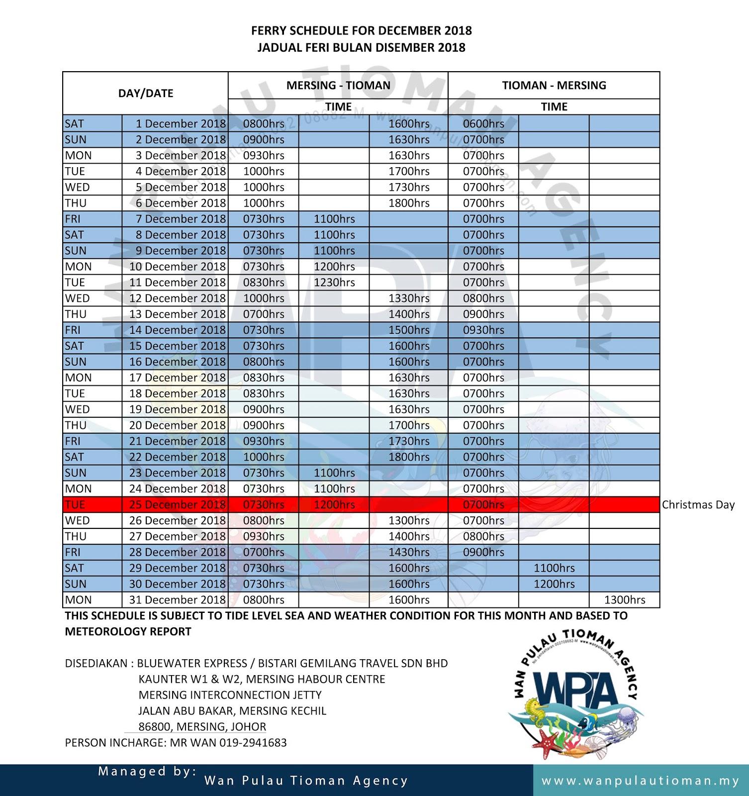 Tioman Ferry Transfer Schedule December 2018