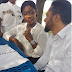 Adorable photo of Mercy Johnson and Majid Michel on set