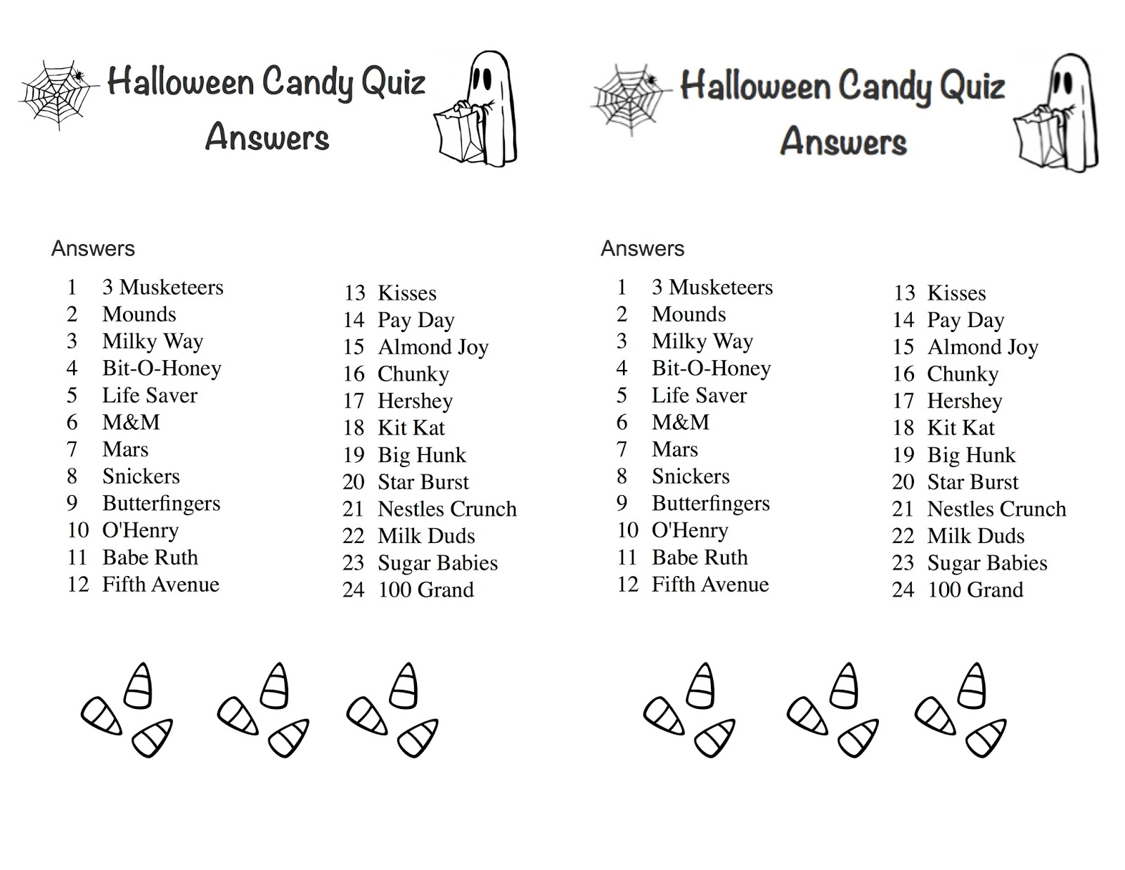 halloween candy quiz answer sheet cut it in half and save paper