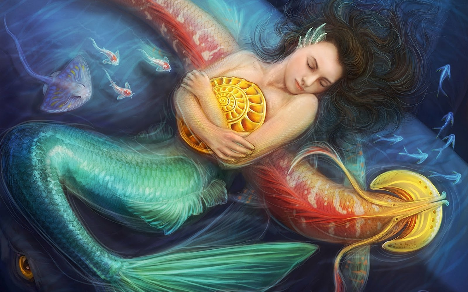 Beautiful Mermaid Girl Paintings Wallpaper Free Download