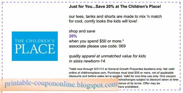Oct 02,  · Children's place is offering $20 cash coupons for every $20 you spend in store or online. Earn $10 Cash Coupons For Every $20 Spent In Store For every $20 spent in store at childrens place you will earn one $10 cash coupon valid on your next in store or online purchase off $20 or more between March 28, and April 11, /5(26).