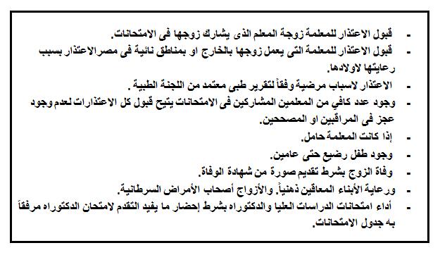 وزارة التعليم - قواعد قبول الاعتذارات للمعلمين عن المشاركة بأعمال الامتحانات والتصحيح للعام 2016 / 2017