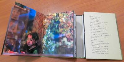 O volume da esquerda é composto por fotografias de Adriana Lafer, que dialogam com a poesia de Manoel de Barros no volume da direita. Quem conduz esta conversa é o leitor-observador.