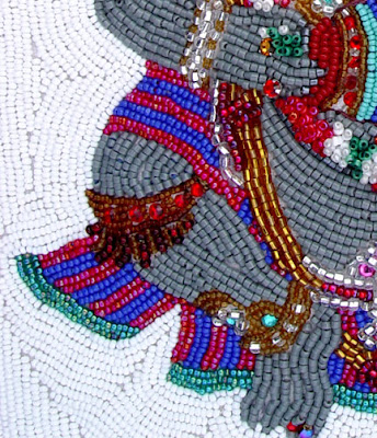 Janet Dann, bead embroidery, ganesh, knee detail
