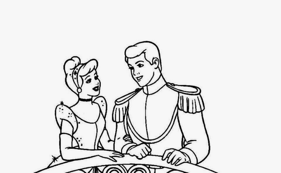 Prince Charming And Cinderella Coloring Page - Free Cinderella ... | 592x962