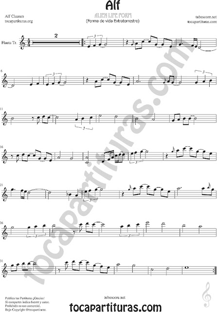 Alf Partitura de Flauta Travesera, flauta dulce y flauta de pico BSO Ost Intro Sheet Music for Flute and Recorder Music Scores