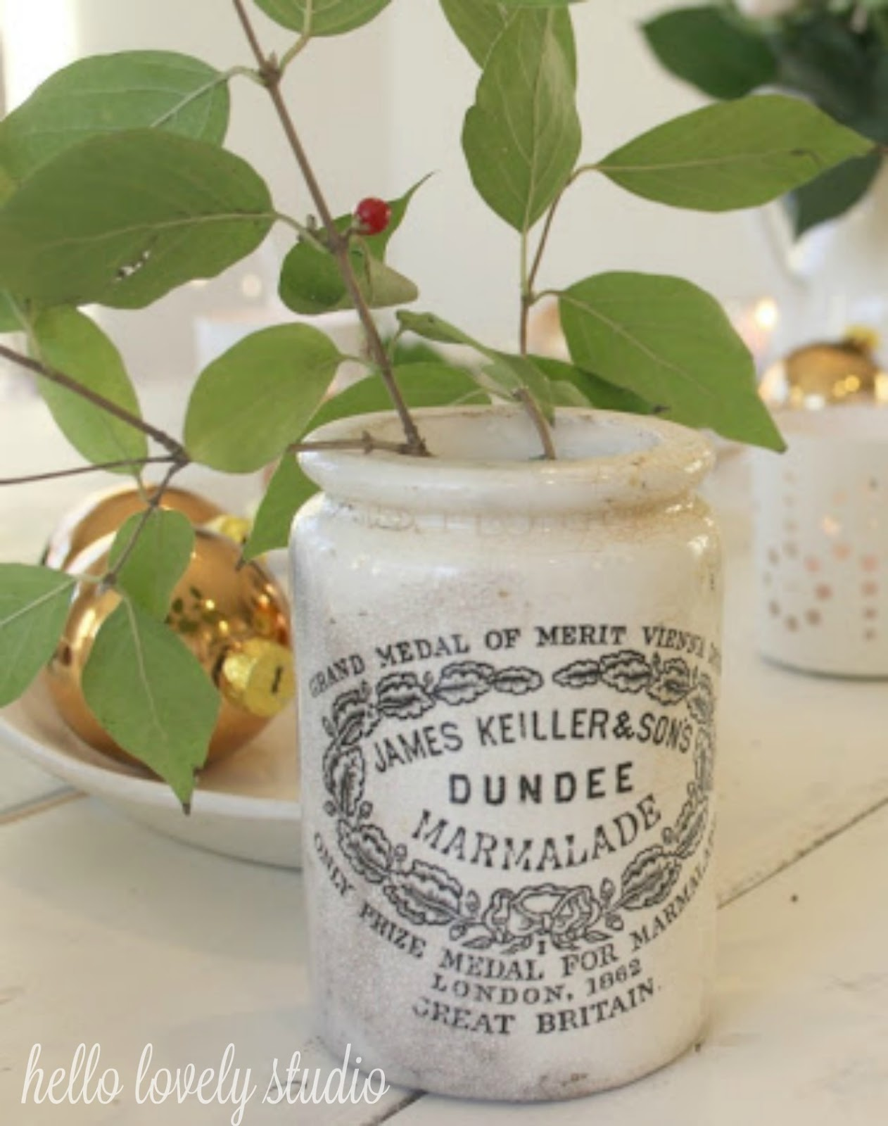James Keiller Dundee marmalade English crock jar with greenery and berries - Hello Lovely Studio