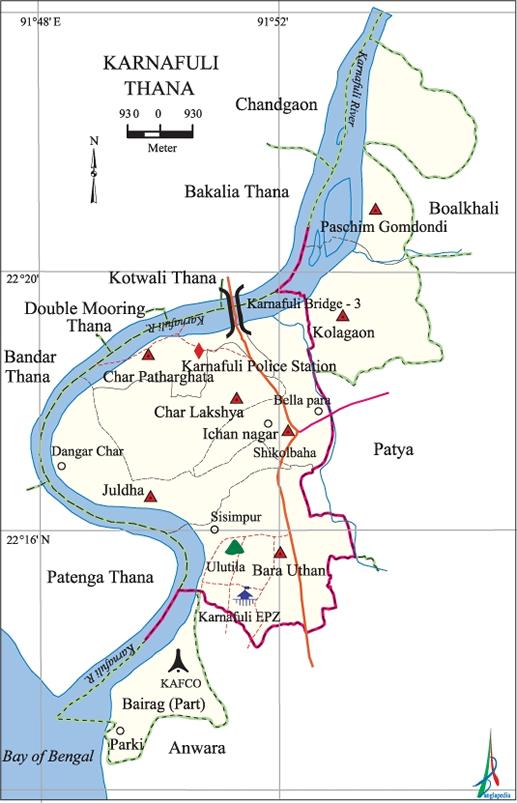 Karnafuli Upazila Map Chittagong District Bangladesh