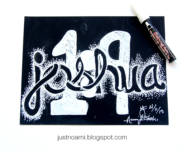 joshua 1:9 handlettering logo concept  on chalkboard scrapbook paper using the bistro chalk market white final image