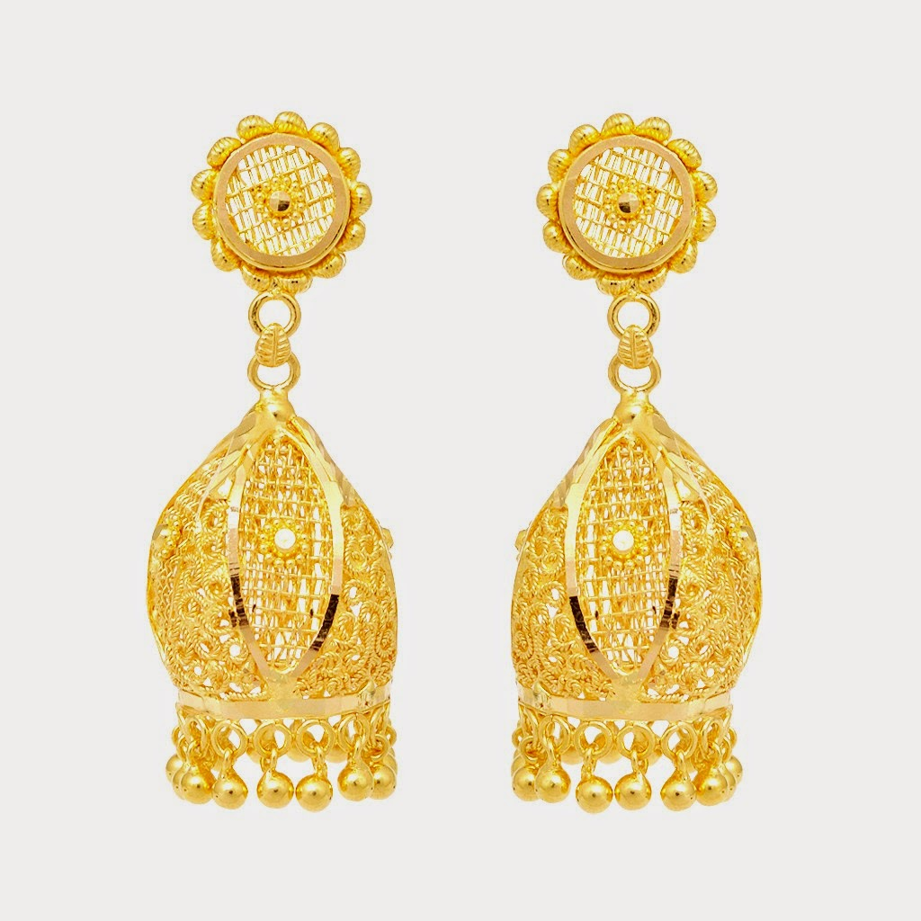 Indian Gold Jhumka Earring Designs 2014-15 Wallpapers Free Download