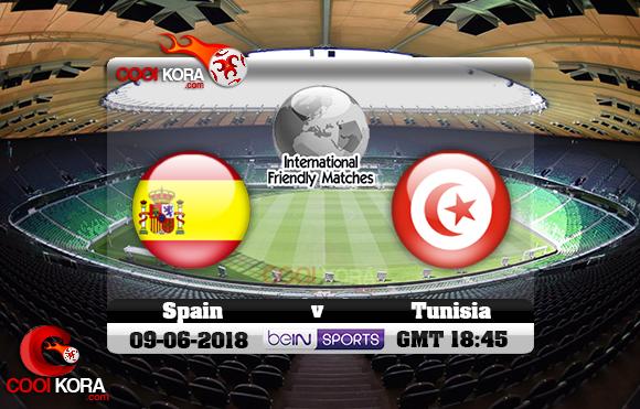 مشاهدة مباراة تونس وأسبانيا اليوم 9-6-2018 مباراة ودية