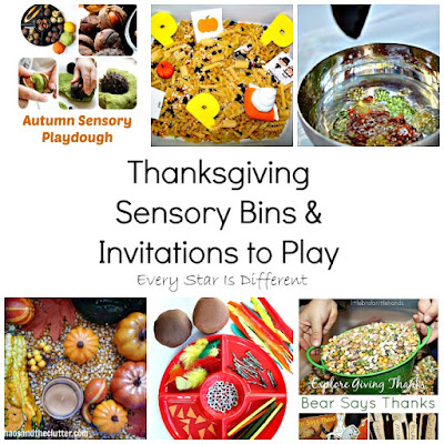 Thanksgiving sensory bins and invitations to play