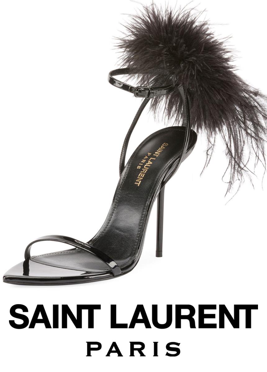 Saint Laurent Iris Patent Sandal with Feathers