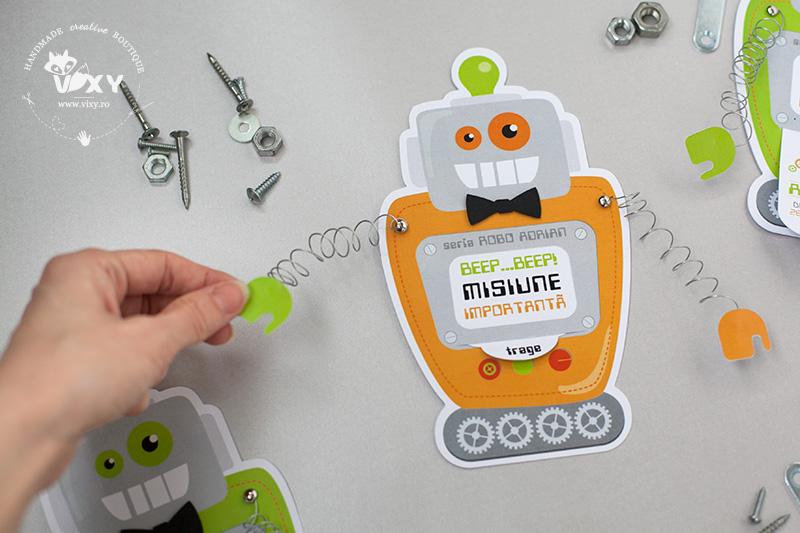 invitatii inedite, invitatii handmade, invitatii botez, robotel, invitatie robotel, invitatie petrecere un an, petrecere personalizata, vixy.ro, tema robotei, petrecere robotei, robotei haiosi, robot