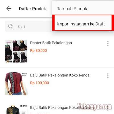 tambah produk tokopedia dari instagram