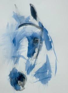 contemporary equestrian art, equine painting, Blair horse trials