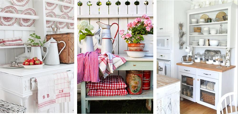 como decorar cocina al estilo vintage con vajilla de porcelana y accesorios