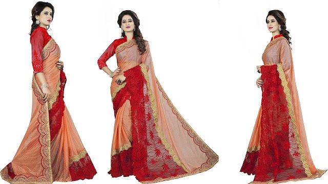 Aashvi Creation Embroidered, Self Design Bollywood Net Saree  (Multicolor)