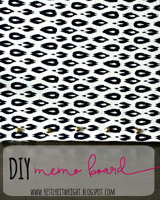 How to make a DIY memo board with a cork board, fabric, and push pins