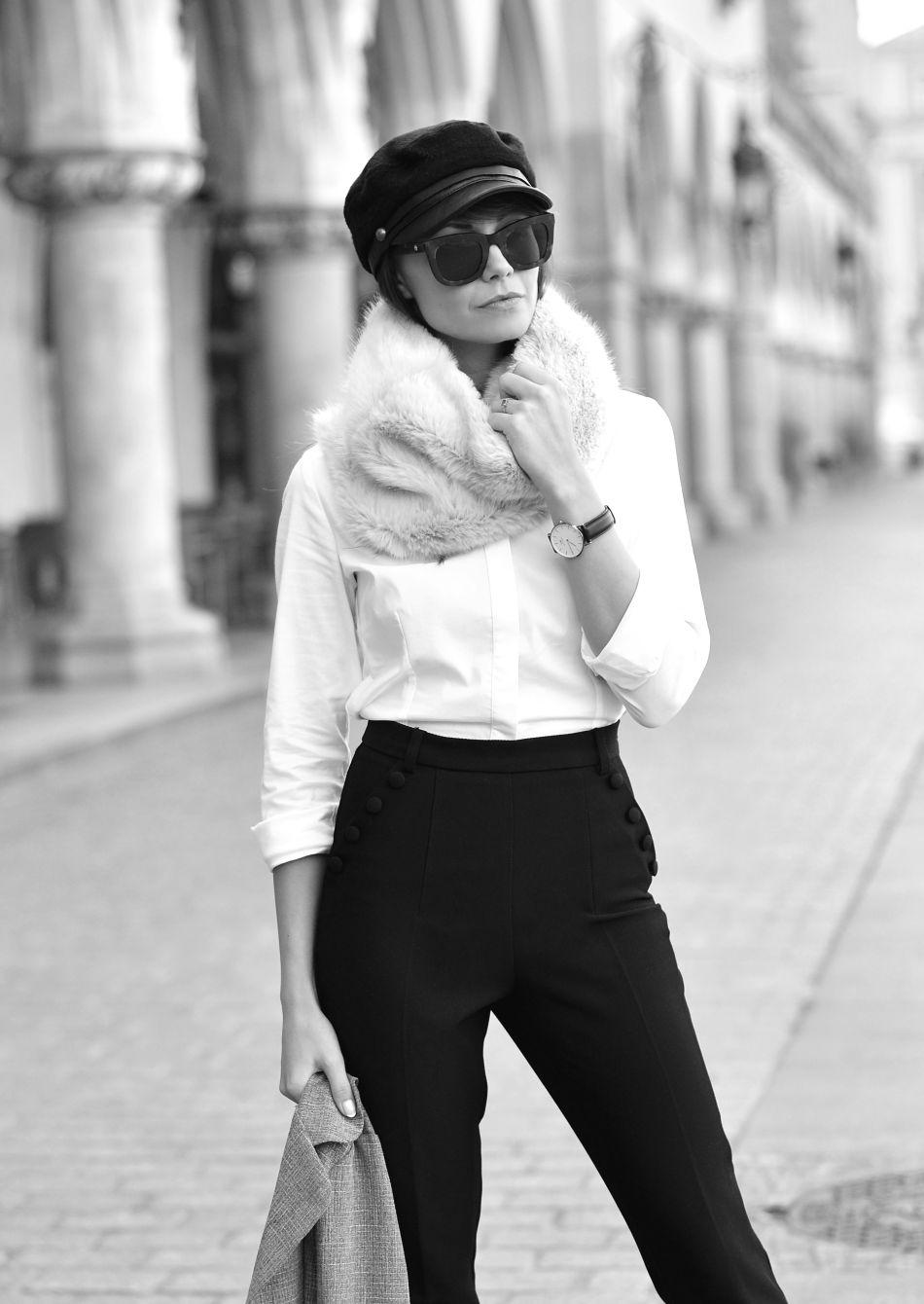 blogi o modzie | blog o modzie | blogerka krakow | popularne blogi modowe | futrzany komin | etola | biala koszula | tova | hm trend spodnie