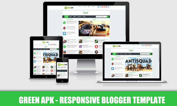 Green APK Pro Responsive Blogger blogspot Templates