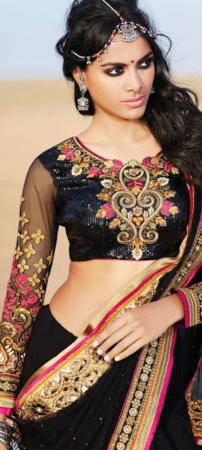 Gorgeous Indian Model Girl In Indian Black Saree Blouse.