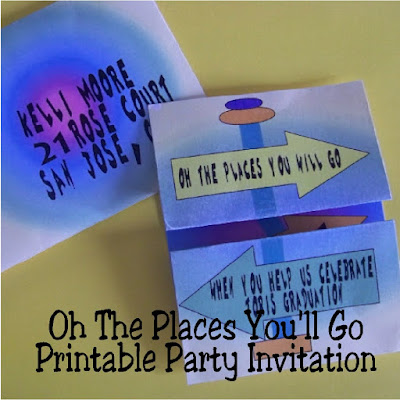 Print out these printable party invitations for your Oh The Places You'll Go party.  This fun invitation is perfect for a graduation party or a baby shower. Plus you can print and make the invitation and envelope at home.