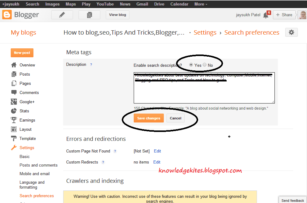add Meta-tags in blogger blog and blog post step 2