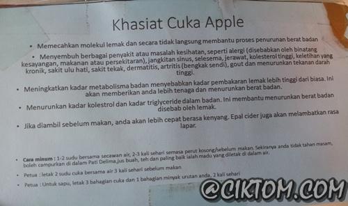 Khasiat cuka epal pada ulasan produk di Takzim Textile, Jengka