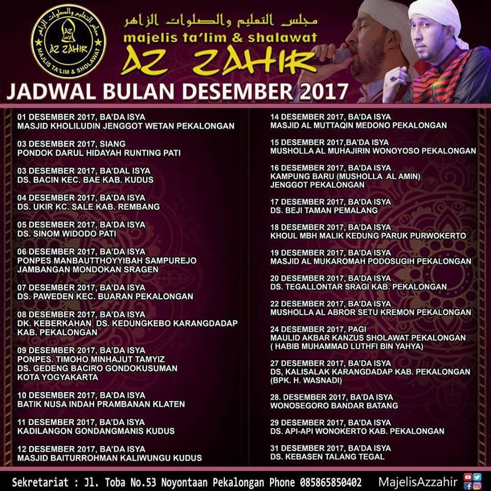 Dowloat Mp3 Meraih Bintang Versi Arab: Jadwal Az-Zahir Bulan Desember 2017 Lengkap Terbaru