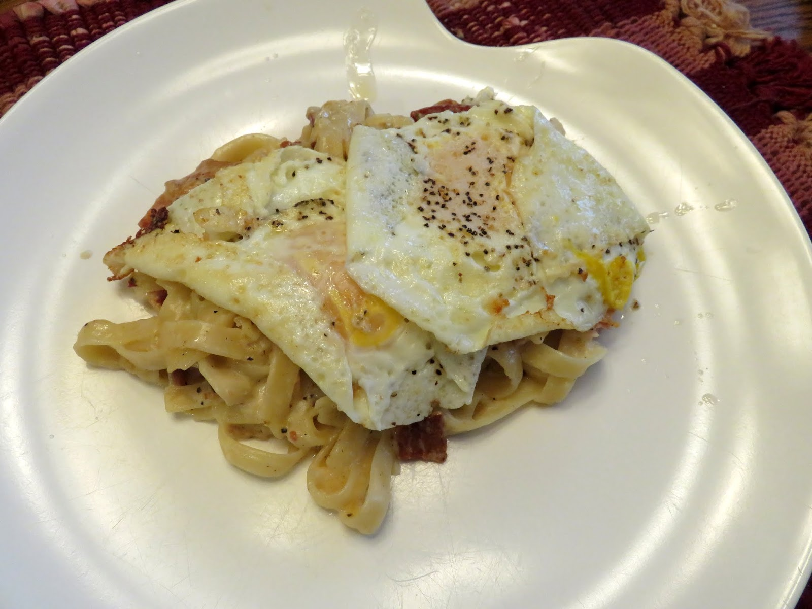 ... lot of parmesan to the pasta carbonara asI heated it in the pan