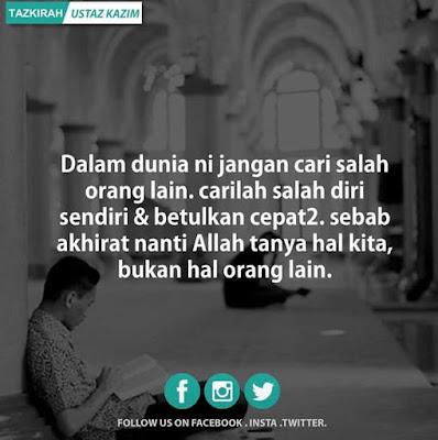 salam jumaat, jangan cari salah orang lain, islamic quote, kata-kata islamik
