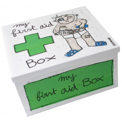 first aid box, metal, with picture of man needing first aid