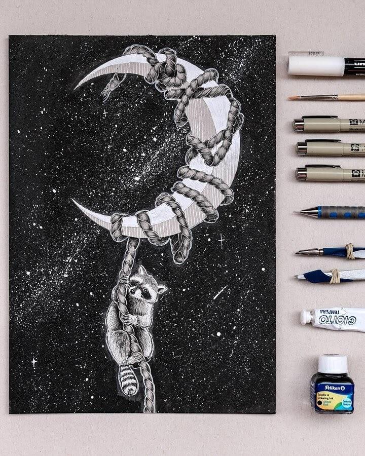 12-Raccoon-Diana-Sofia-Animal-Drawings-www-designstack-co