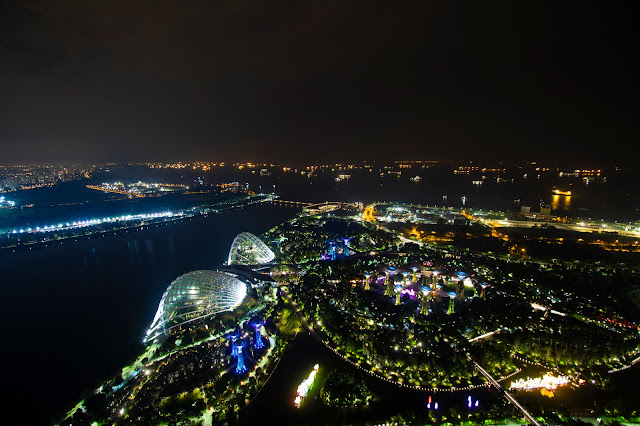 Panorama dalla terrazza del Marina bay Sands-Singapore