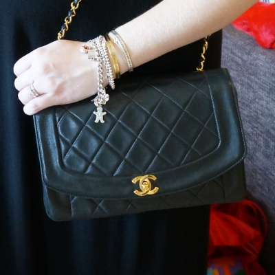 AwayFromTheBlue | Chanel vintage quilted lambskin flap mixed metal bracelet stack