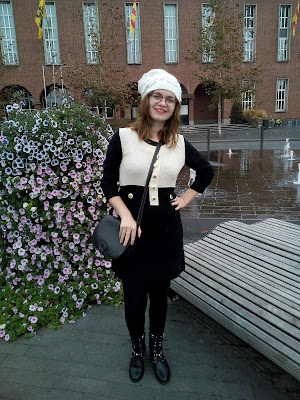 everyday outfit fall season inspiration chanel like dress gothic boots