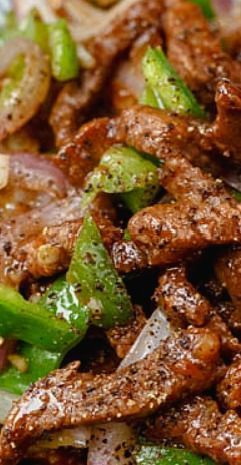 Chinese style black pepper and beef stir fry