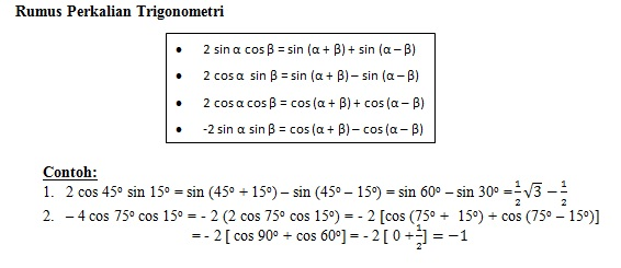 Rumus Trigonometri Perkalian Ke Penjumlahan Edukasi Lif Co Id