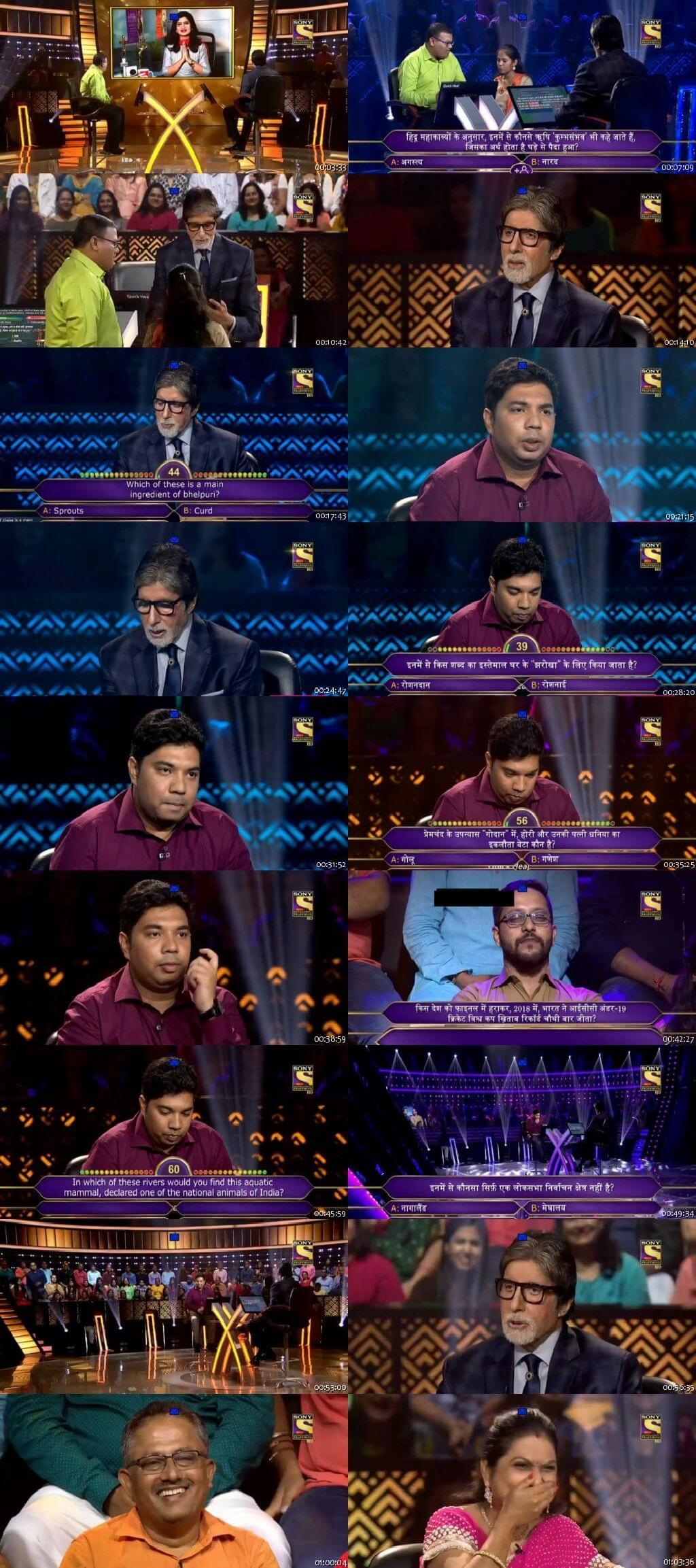 Screenshots Of Hindi Show Kaun Banega Crorepati Season 10 2018 18th September 300MB 480P HD