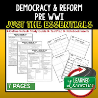 Democracy and Reform, World History Outline Notes, World History Test Prep, World History Test Review, World History Study Guide, World History Summer School Outline, World History Unit Overview, World History Interactive Notebook Inserts