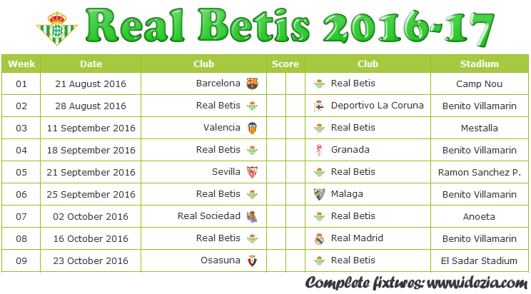 Download Jadwal Real Betis 2016-2017 File PDF - Download Kalender Lengkap Pertandingan Real Betis 2016-2017 File PDF - Download Real Betis Schedule Full Fixture File PDF - Schedule with Score Coloumn